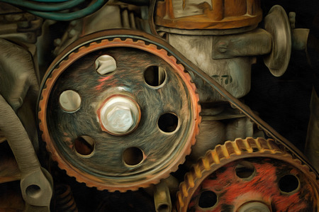 propulsion: Detail of the old petrol engine - mixed media