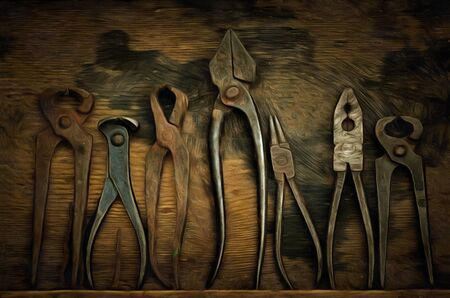 implementing: Various old and used pliers - digitally altered