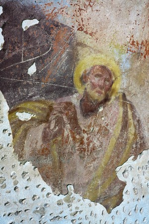 harmed: Old mural painting in the ruins of the old church