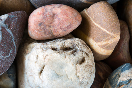 pebblestone: Detail of the various stones - minerals Stock Photo