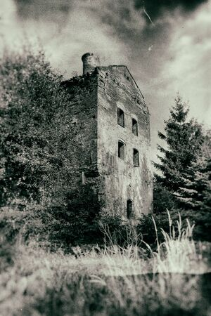 oddity: Abandoned haunted house in grunge style