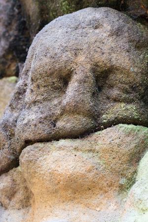 cherubs: Rock relief - detail of the head of angel
