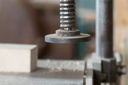 Detail of the chuck in the carpentry workshop - shallow depth of field