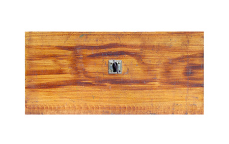 key cabinet: Old wooden drawer on white background - front view