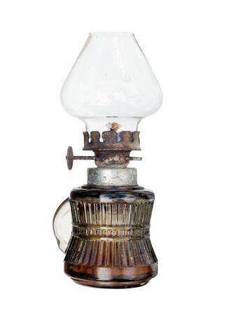 kerosene lamp: Old and used kerosene lamp on white background Stock Photo