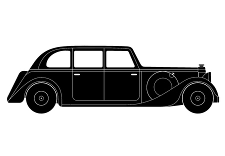 sedan: Vector illustration of the sedan - vintage model of car Illustration