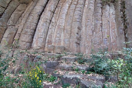 columnar: Interesting geological formation - Konojedy Rock Loaves - massif of the remains of several lava flows - example of basalt columnar jointing, Konojedy, Czech republic