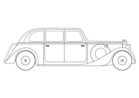 sedan: Illustration of the sedan - vintage model of car