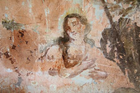 harmed: Old mural painting in the ruins of the church of Saint Gallus.Ruins of the Church of Saint Gallus from 1733