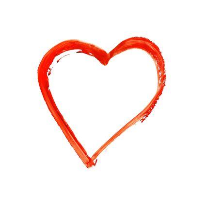 Gemaltes Herz - Symbol der Liebe - Aquarell auf Papier Standard-Bild - 73100399