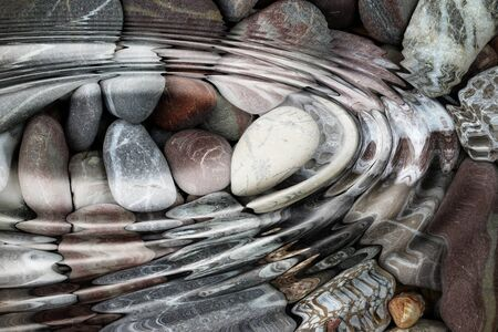 pebblestone: Water ripples over the stone pebbles - digitally altered Stock Photo