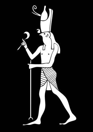 horus: Ilustración del Dios de Horus - de Egipto antiguo. Dios del cielo y la realeza Foto de archivo