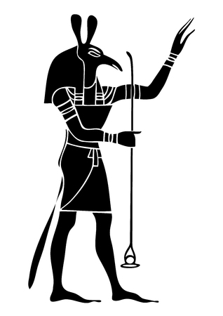 religious clothing: Set - God of Ancient Egypt - God of storms, desert, chaos and war Stock Photo