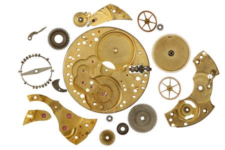 Clockwork mechanism - various part of clockwork mechanism on white background