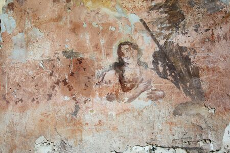 Old mural painting in the ruins of the church of Saint Gallus.Ruins of the Church of Saint Gallus from 1733