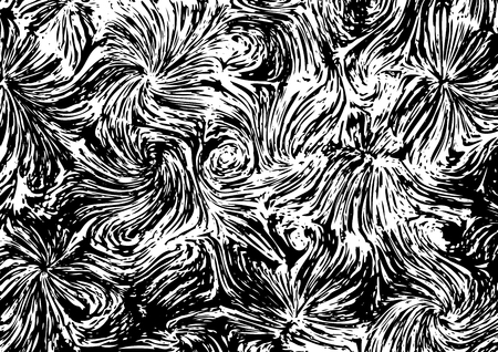 Abstract black and white texture a la Vincent van Gogh Illustration
