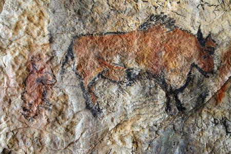 Grotschildering in prehistorische stijl - detail Stockfoto