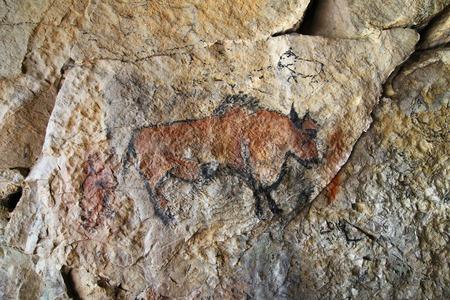 Pintura rupestre en estilo prehistórico - detalle Foto de archivo - 81422718