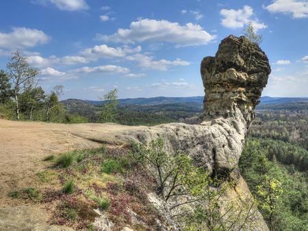 a cudgel: Capska cudgel - rock formation on a rocky promontory, Czech Republic