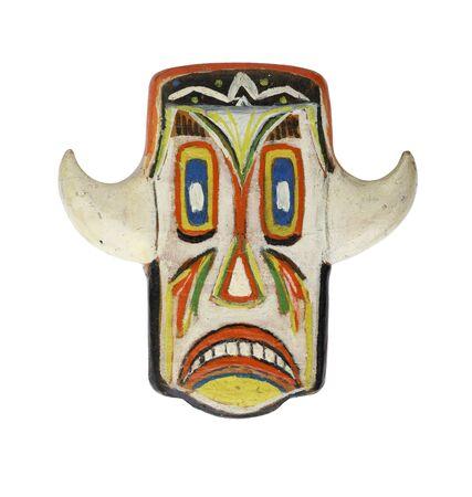 Grinning mask isolated on white background Stock Photo