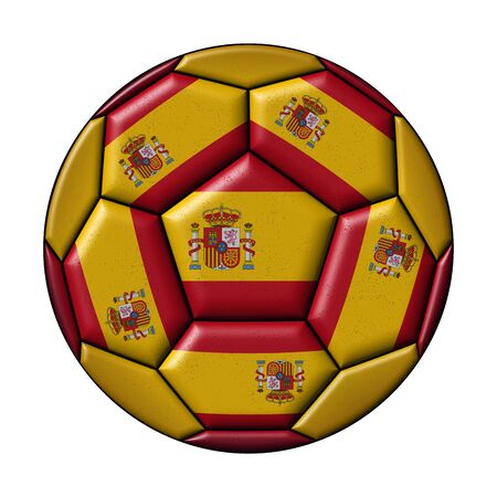 Soccer ball with Spanish flag on white background
