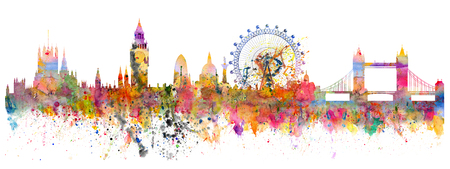Abstract illustration of the London skyline - watercolor stains and brush strokes Stock Photo