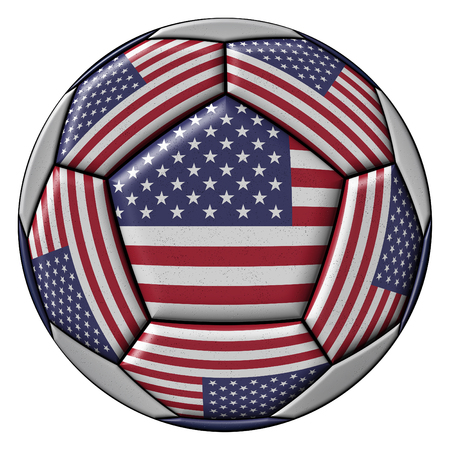 Soccer Ball with United States flag isolated on white background