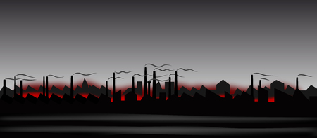 抽象的な産業風景のイラスト  イラスト・ベクター素材
