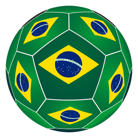 Soccer ball with Brazilian flag isolated on white background