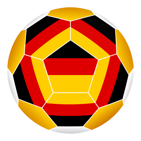 Soccer ball with German flag isolated on white background