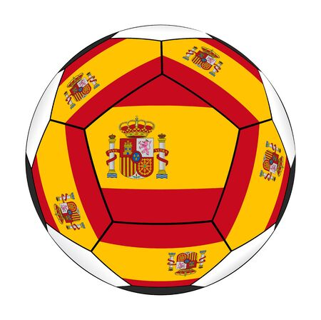 Soccer ball with Spanish flag isolated on white background