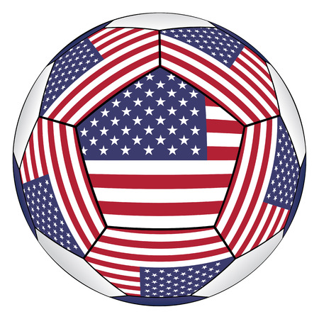 Soccer ball with United States flag isolated on white background Illustration