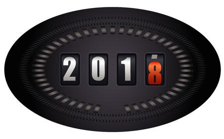 Countdown timer on speedometer - New Year 2018 - on white background Illustration