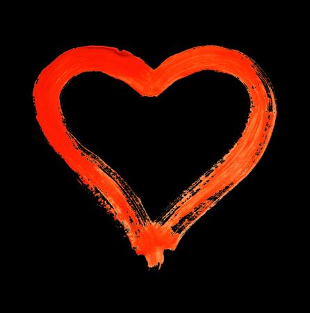 Hart - symbool van liefde - aquarel op papier - geïsoleerd Stockfoto