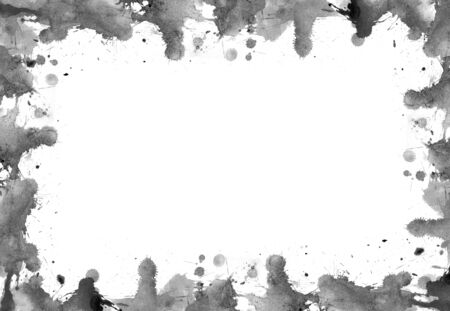 Frame of blots and splashes from watercolor paints Stock Photo