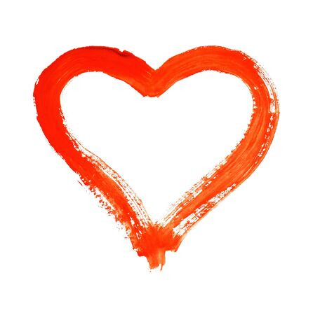 Hart - symbool van liefde - aquarel op papier - geïsoleerd Stockfoto - 91452202