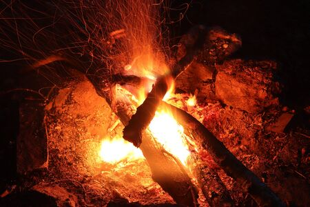 Camp fire - abstract detail of the fire and flames - long exposure