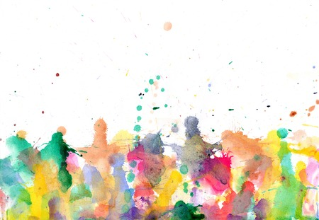 Blobs - watercolour paints splatters on paper abstract background Stock Photo