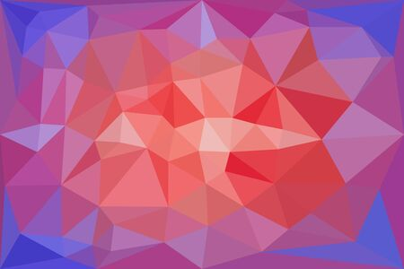 Red, light red and blue triangular pattern, triangles mosaic. Vector illustration.