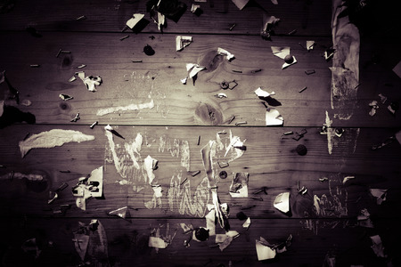 Old vignette notice board with scraps of papers - abstract detail Stock Photo