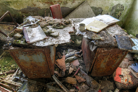 Abandoned office in a former mine mine Stock Photo