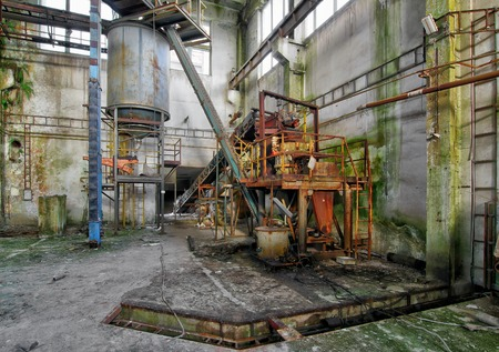 Abandoned iron ore mine in the Ore Mountains Stock Photo