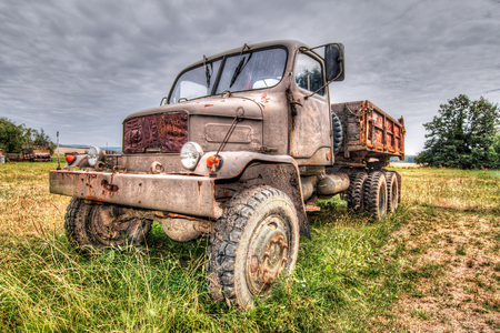Abandoned old rusty truck - terrain truck Prague V3S from 1953 스톡 콘텐츠 - 119820855