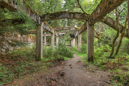 Former mine and war prison camp Rolava older name was Sauersack. After the war the mine dilapidated and today there are only ruins. Ore Mountains, Czech Republic. Imagens