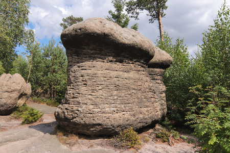Rock mushrooms - bizarre rock formations, Broumov Walls, PLA Broumovsko, Czech Republic