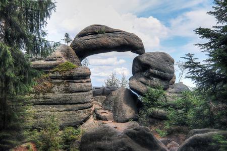 Rock Gate in the nature reserve Broumov Walls, PLA Broumov, Czech Republic Reklamní fotografie