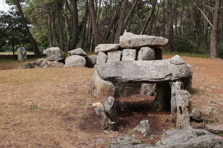 Mane Kerioned Dolmens also dolmen House of the Dwarfs - megalithic monument, Carnac, Brittany, Morbihan, France