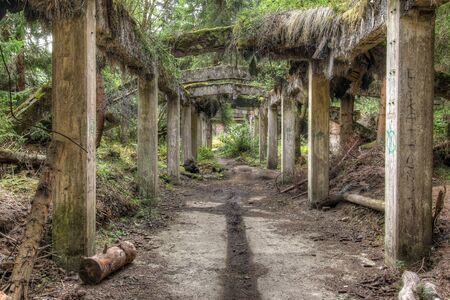 Ruins of the former the tin mine Rolava also known like Sauercack, Ore Mountains, Czech Republic Stock Photo