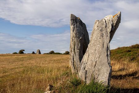 Line of the six menhirs of Vieux-Moulin - Old Mill - megalithic landmark near Plouharnel in Brittany, France