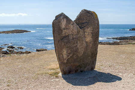 Menhir Beg Er Goalennec on the peninsula Quiberon in Brittany, France